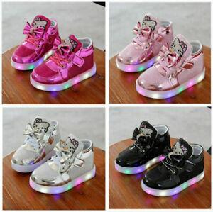 860ab60aab8bbb Das Bild wird geladen Kinderschuhe-Maedchen-Jungen-Sneakers-LED-Licht- Leuchtende-Blink-