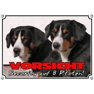 Dog Shield Two Entlebucher Sennenhunde - Panneau d'avertissement exclusif en métal