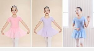 Girls-Kids-Ballet-Leotard-with-Chiffon-Wrap-Skirt-Short-Sleeve-Skate-Gymnastics