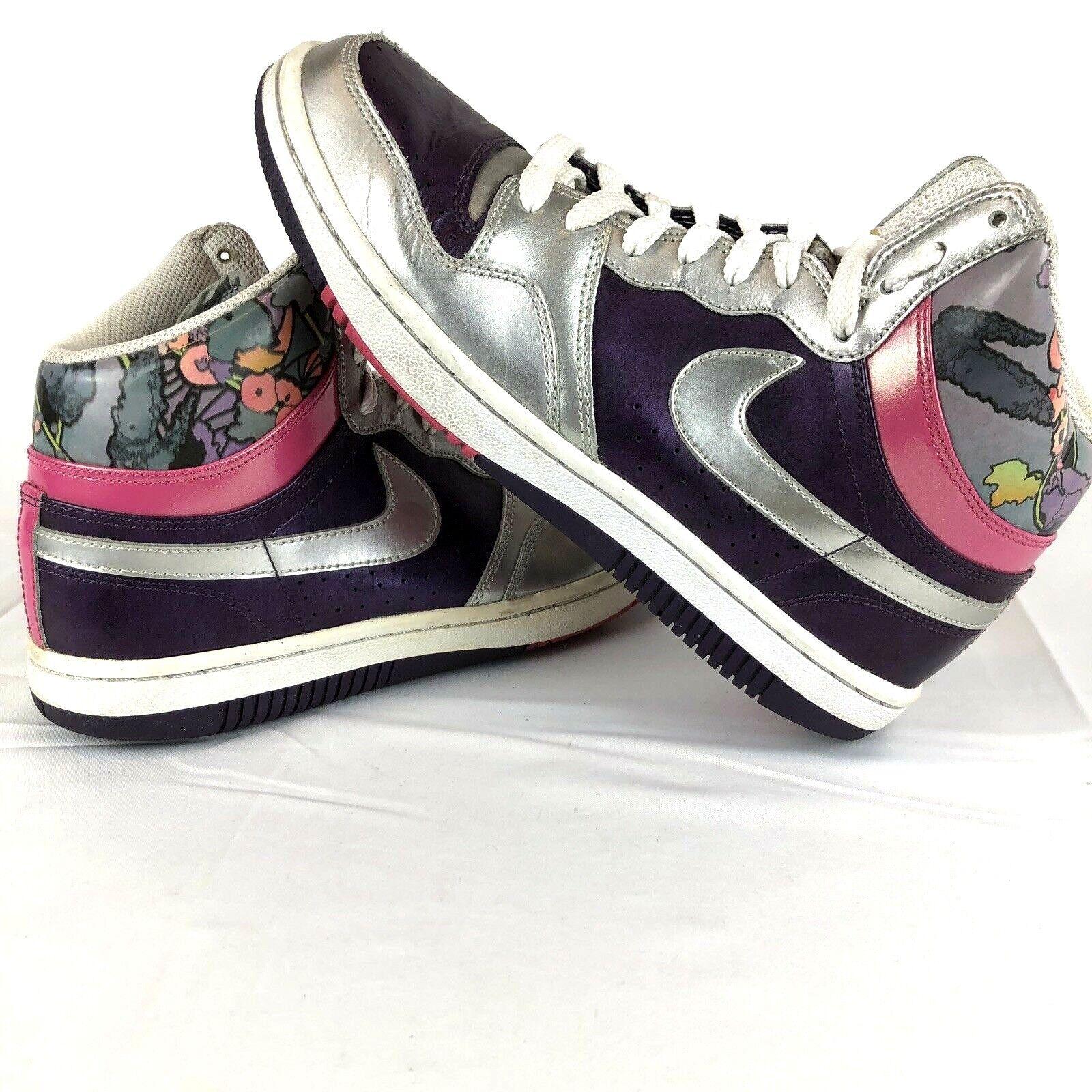 Nike Court Force Women's Size 9 Hi Top Silver Purple Pink shoes Rare 316117-501