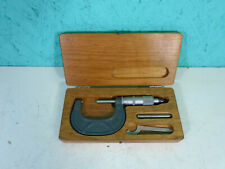 Scherr Tumico Micrometer With Wrench In Wooden Case Machinist S1