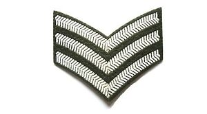 US-MILITARY-SERGEANT-STRIPE-PATCH-sew-on-embroidered-cloth-WW2-army-olive-badge