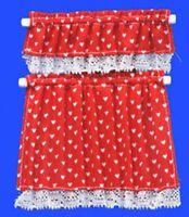 Nursery Hearts Cottage Curtains Dollhouse Decor (red) - Handley House Bb50416