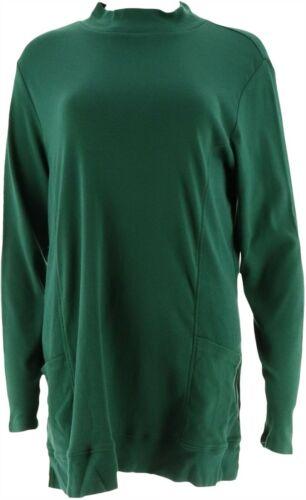 Denim Co Essentials Mock Neck Knit Tunic Pockets Hunter Green 1X NEW A298115