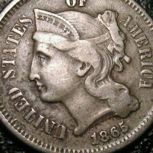 OLD US COINS 1865 CIVIL WAR THREE CENT PIECE
