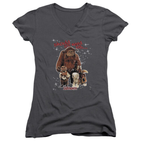 Labyrinth Movie SHOULD YOU NEED US Licensed Juniors V-Neck Tee Shirt