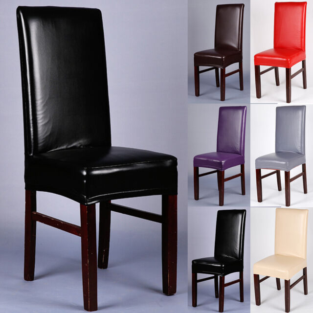 1/4/6PCS Dining Chair Covers PU Leather Stretch Slipcover Dining Room Seat  Decor
