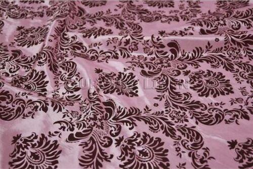 "5 Yards Pink Brown Flocking Damask Taffeta 15 ft Velvet Fabric 58/"" Flocked Decor"
