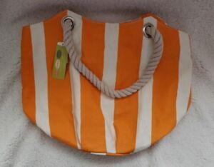 Details About Rock Flower Paper Beach Bucket Bag Market Orange Cream Strips