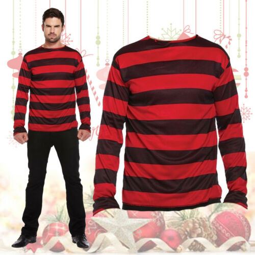 Costume da Uomo Rosso Nero A Righe Maglione Horror Halloween Natale Dress Up