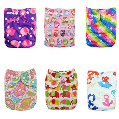 Alva Baby Reuseable Washable Pocket Cloth 6 diapers 6DM 12 inserts Girl Color