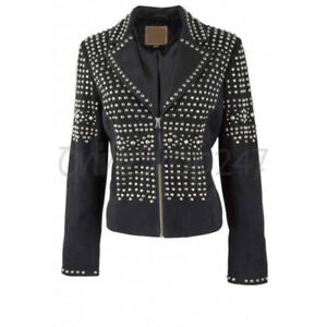 Studded Suede Brando New Style Leather Silver Full Women Classic Black Jacket wqYOxYFU