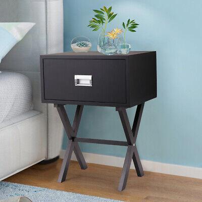 Sofa Bedside End Table Nightstand Living Room Home Decor w/ Drawer Beam  Black | eBay