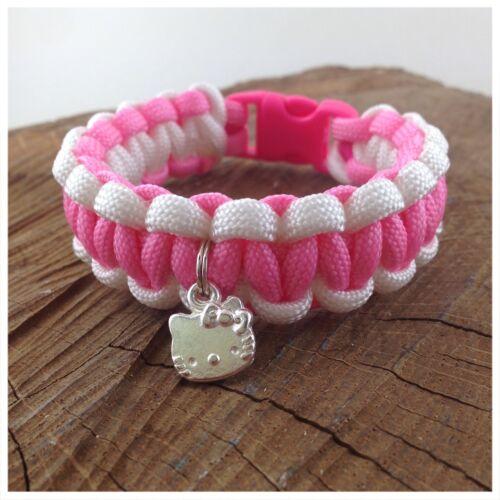 "Hello Kitty Child/'s Paracord Charm Bracelet Friendship Bracelet 7/"" Handmade UK"