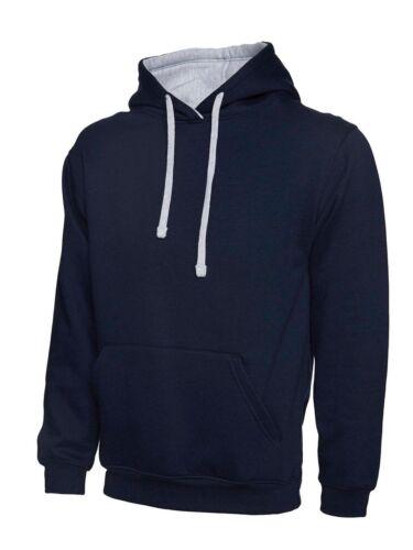 Uneek Contrast Hooded Sweatshirt XS-4XL UC-507 12-Colour Work Wear Causal Top