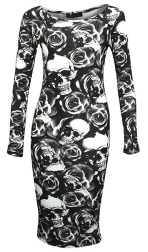 LADIES WOMENS LONG SLEEVE STRETCH JERSEY BODYCON PRINTED MIDI DRESS PLUS SIZE