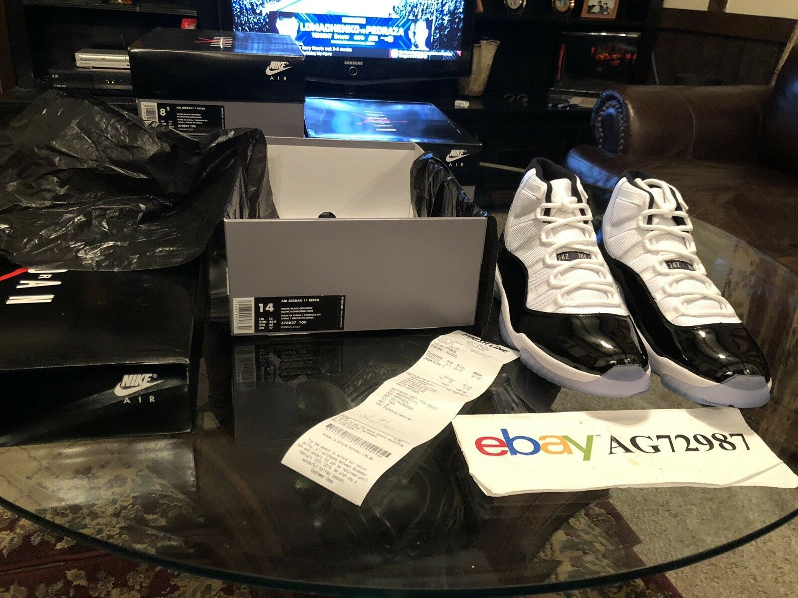 Retro 11 Concord Space Jam 14 DS Deadstock Authentic With Finish Line Receipt