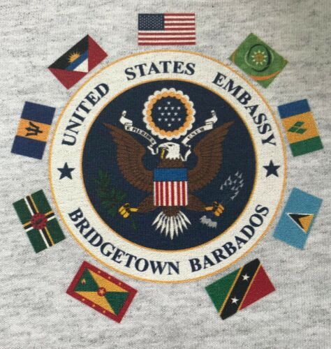 State Dept USEMB US Embassy Bridgetown Barbados Heather Gray Short Slv T-Shirt