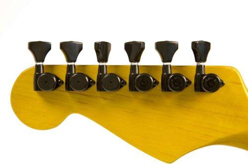 Hipshot 6 in-line staggered Open Gear 6GL0B Black Grip-Lock locking tuners NEW