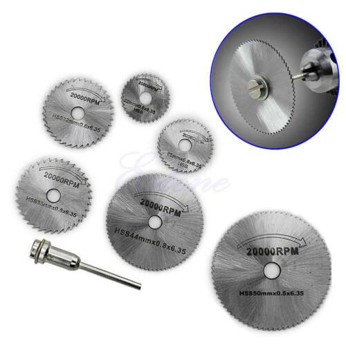 Pour Cutoff Scie Circulaire HSS Rotatif Lames Outil Disques Coupe Mandrin 6PCS