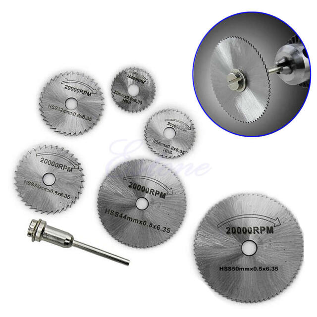 6PCS HSS Rotary Circular Saw Blades Tool Cutting Discs Mandrel Fr Cutoff Durable