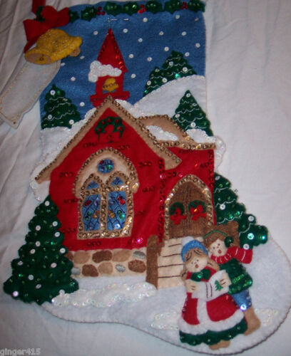 Original Not Plaid Repro or 2nd Bucilla HOLY NIGHT Felt Christmas Stocking Kit