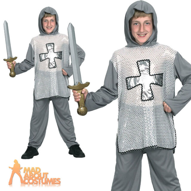 Childrens Kids English Knight Fancy Dress Costume Boys Medieval Outfit Childs M