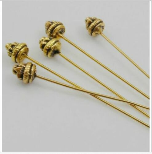 Free Ship 100pcs Tibetan Silver Gold Big Head Pins Needles For Jewelry Making