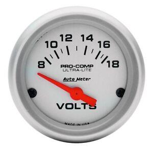 Auto-Meter-Voltaje-pro-Comp-Valvula-Ultra-Lite-Analogico-Voltimetro-52mm-8-18v