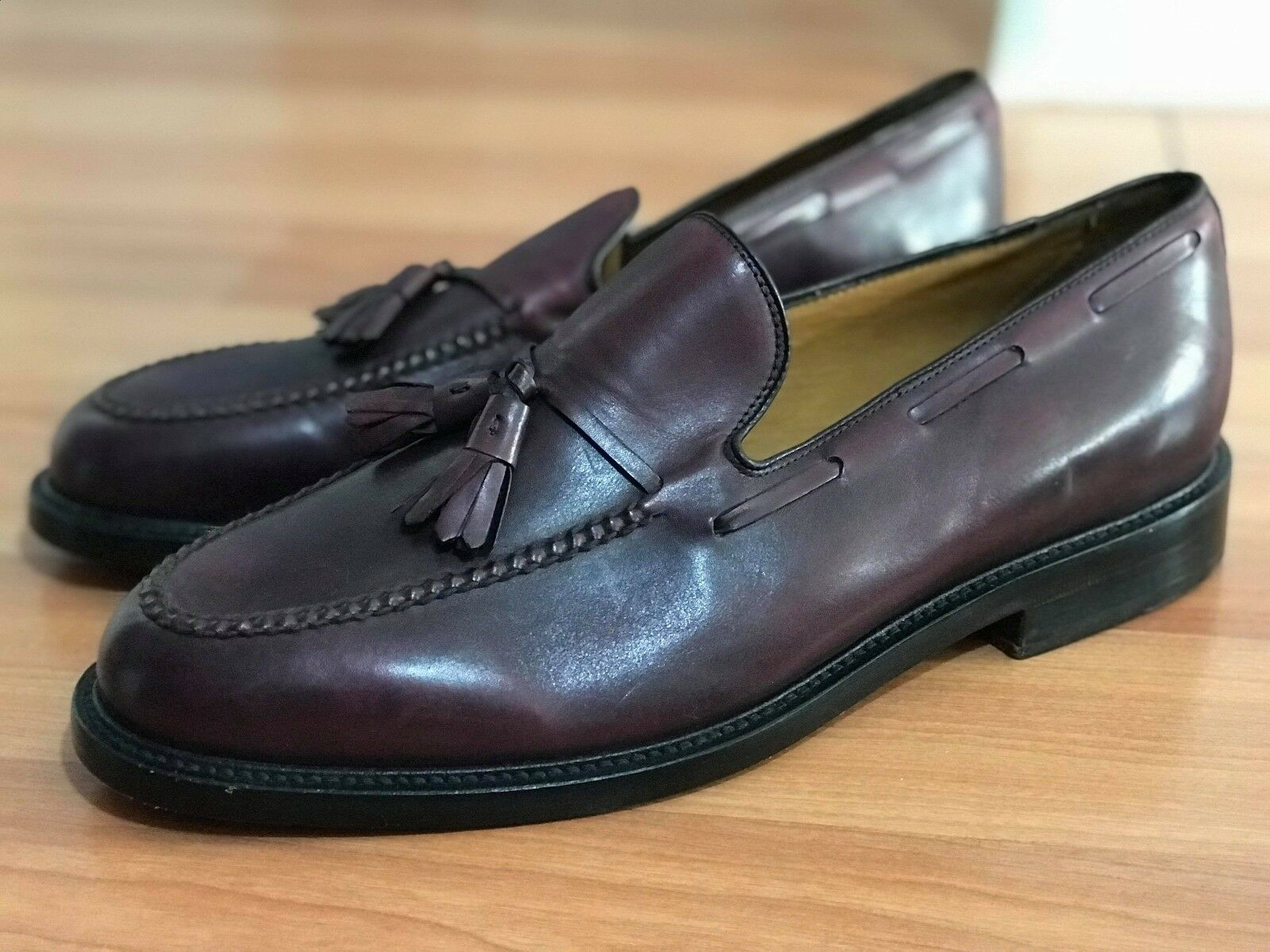 LeS END Men Burgundy Leather sautope Dimensione 10.5 nuovo WOT sautope tree not included