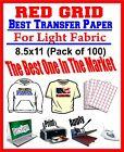 HEAT TRANSFER PAPER RED GRID IRON ON LIGHT T SHIRT INKJET PAPER 100 PK 8.5