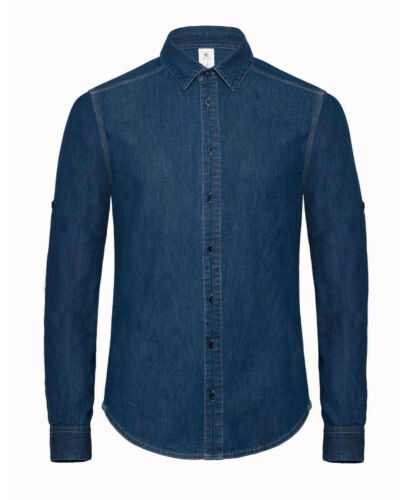 B/&C Maglia in Denim Uomo Smart Casual Collare Manica Lunga Roll Up 100/% COTONE S-2XL