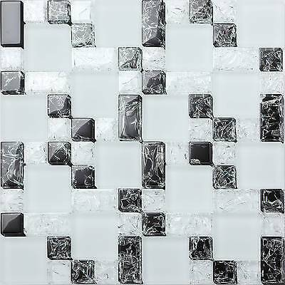 Mosaic Glass Wall Tiles Ice White & Black Crackle Glass Shower Bathroom 0076