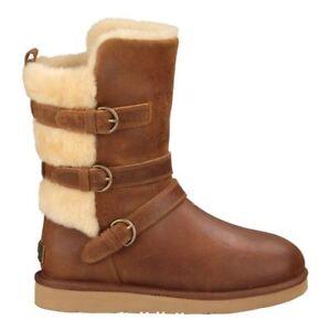 e0758e1d172 UGG Australia Becket BOOTS Sz 6 Chestnut Leather Triple Buckle 1005380