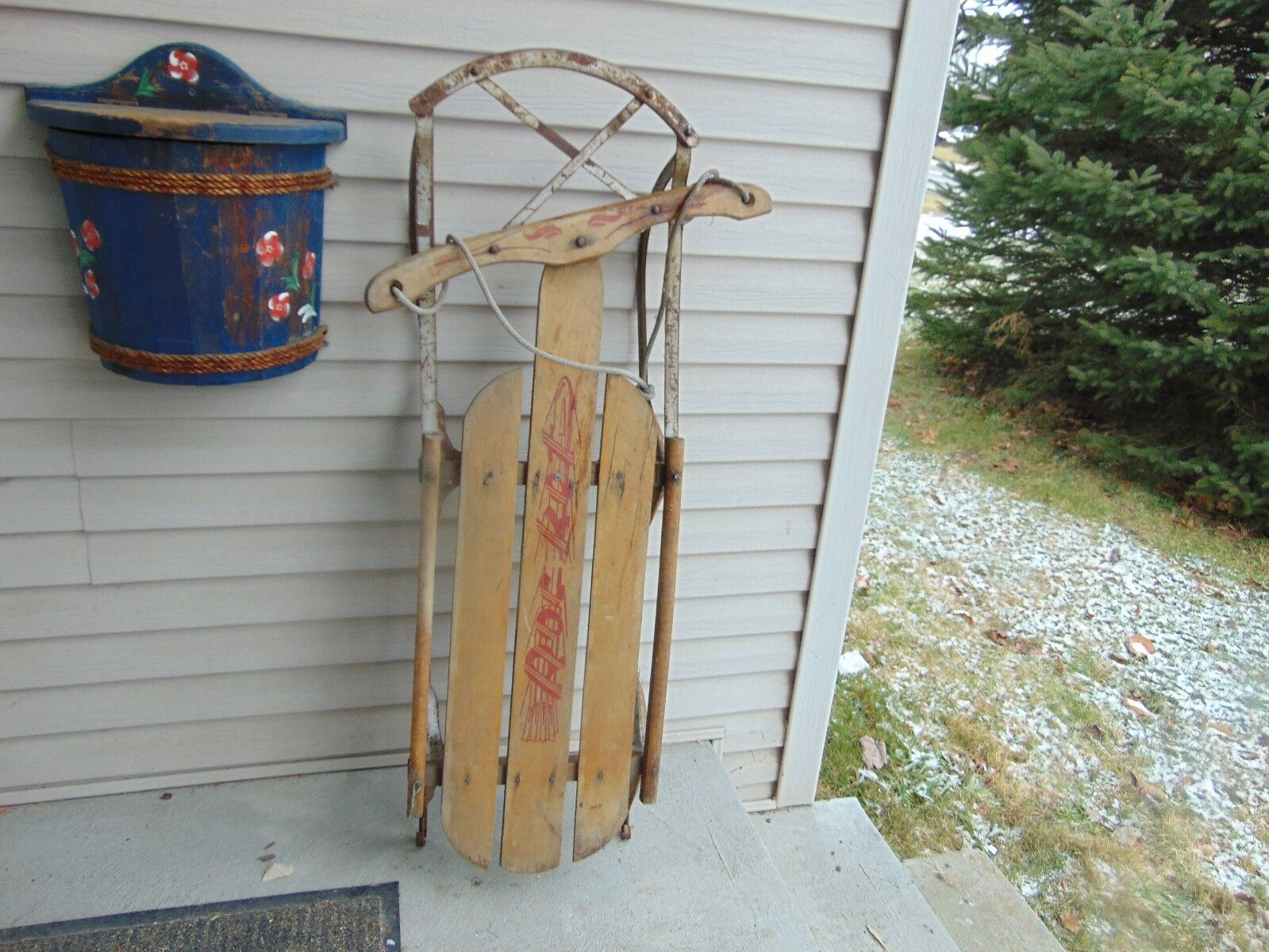 Vintage, wooden snow    sledge   41   long flexible flyer sled   nice    5268 ee9f6a