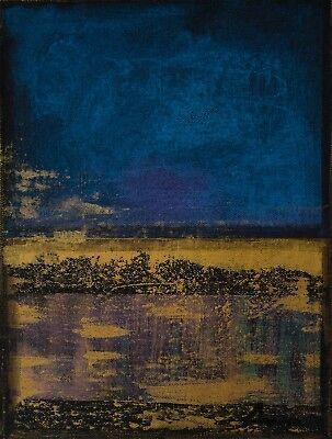Modern Original Abstract Painting Cobalt Blue Gold Leaf Purple Artist Anya Ebay