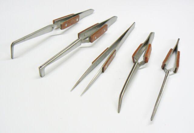 5 Tweezers Jewelry Soldering Fiber Grip Cross Locking Set Bent & Straight Tip