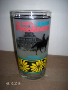 Vintage-1988-Pimlico-Park-113th-Preakness-Horse-Racing-Souvenir-Frosted-Glass