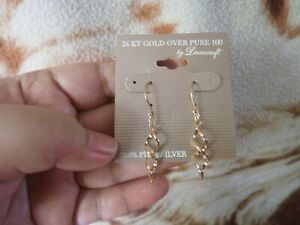 CLOSEOUT-SALE-Imported-From-USA-Danecraft-24-KT-Gold-Over-100-Earrings-3