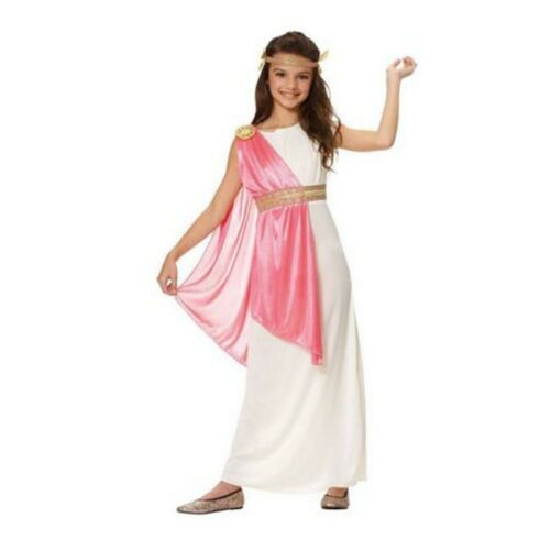 Roman Empress Girls Costume Greek Goddess Athena Toga Child Grecian Pink White