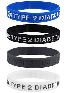 TYPE-2-DIABETIC-XL-Size-Medical-Alert-ID-Silicone-Bracelets-4-Pack