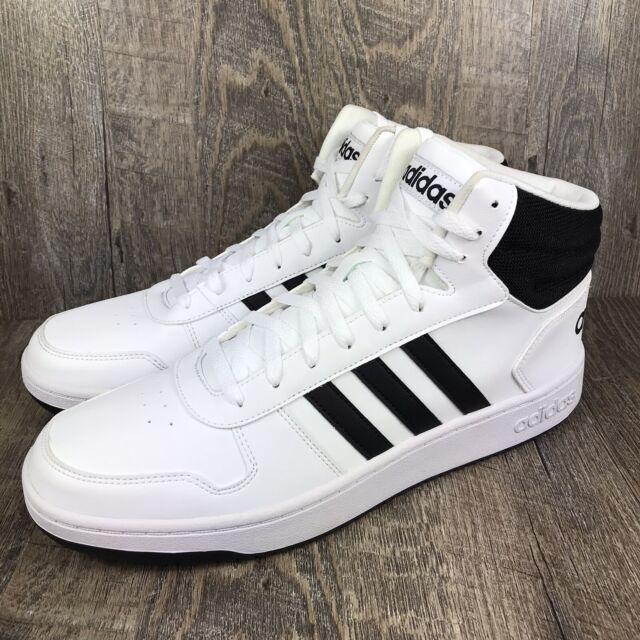 Size 13 - adidas Hoops 2.0 Mid White Black for sale online | eBay