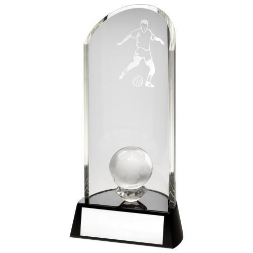 Curved Quality Glass Football Trophy, Award,  229mm FREE Engraving (TD131L)TD