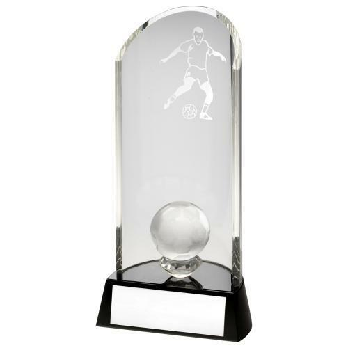 Curved Quality Glass Football Trophy, Award, 191mm FREE Engraving (TD131S)TD
