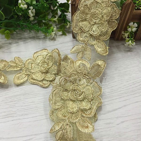 Vintage Embroidered Lace Trim Wedding Dress Ribbon Applique Sewing Craft Fabric