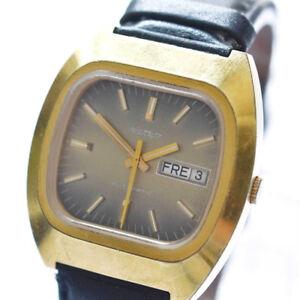 Vintage-Rhodos-Armbanduhr-Herrenuhr-vergoldet-Automatic-Datum-Tag-um-1970
