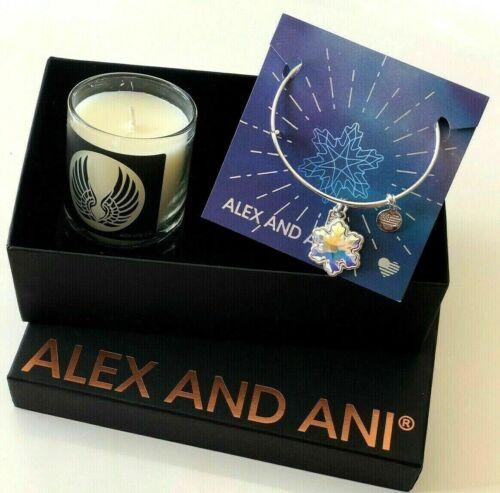 New Alex and Ani  CRYSTAL Snowflake 2018 Shiny Silver Bangle /& Candle Set