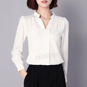 0aad4201f00 Womens Casual V-Neck Chiffon Blouse Long Sleeve Office Lady Shirts ...