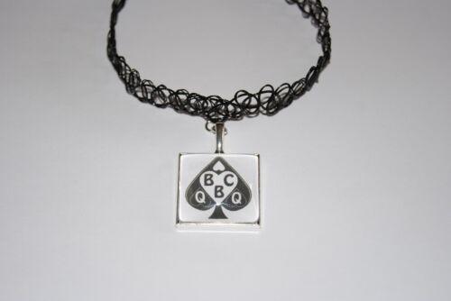 QUEEN OF SPADES Logo Black PVC Choker Necklace Jewellery Hot Wife Slut Swinger 2