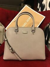 NWT MICHAEL KORS SAFFIANO LEATHER CINDY LARGE DOME SATCHEL BAG IN PEARL GREY